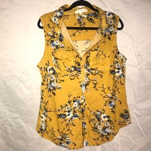 Floral button up tank